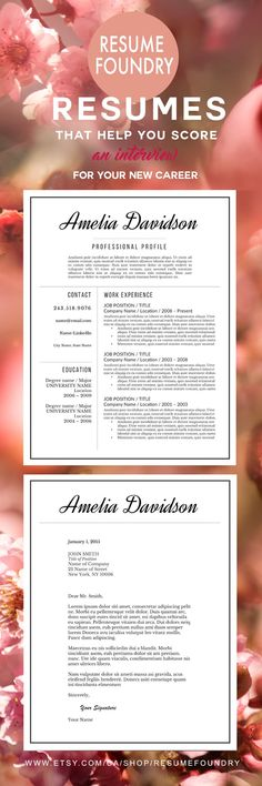 Beautiful, elegant resume template from Resume Foundry. Save yourself some time and instantly download this resume for use with Microsoft Word - just $15.