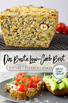 Das beste Low-Carb Brot aller Zeiten Eat low-carb while still enjoying bread? It works! You will find here a recipe for a low-carb bread, which wo. Best Low Carb Bread, Keto Bread, Low Carb Keto, Low Carb Recipes, Healthy Recipes, Bread Food, Low Calorie Bread, Low Carb Blog, Keto Foods
