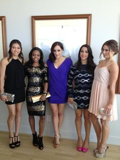 Team USA- Kyla Ross, Gabby Douglas, Jordyn Wieber, Aly Raisman, McKayla Maroney. Look so different all dressed up!