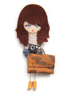 Traveller. # felt dolls # brooche doll # custom doll # minimis