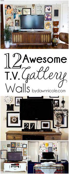 12 Awesome TV Gallery Walls   byDawnNicole.com #tvgallerywalls #homedecor #diy
