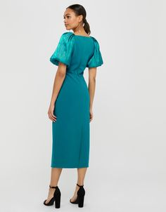 Eliza Organza Puff Sleeve Midi Dress   Blue   UK 8 / US 4 / EU 36   8468447908   Monsoon Monsoon, Geometric Fashion, Cold Shoulder Dress, Column Dress, Blue Midi Dress, Puff Sleeves, High Leg Boots, Long Toes, Perfect Party