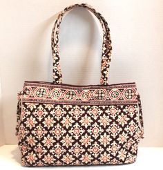 Vera Bradley Medallion Quilted Cotton Snap Closure Handbag Tote Bag #VeraBradley #TotesShoppers