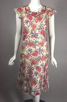 Early 1930s dress cotton floral print size XS 30s housedress 32 bust