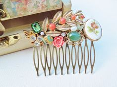 Collage Hair Comb - Coral and Jade Green - Repurposed Vintage Jewlery, Shabby Chic