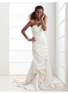Charming Trumpet/ Mermaid Strapless Sweetheart Court Train Satin Beach Wedding Dress
