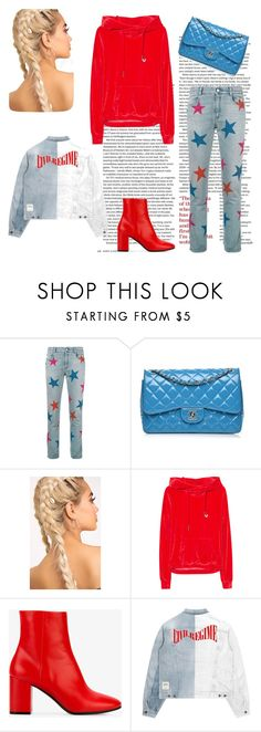 """Denim, red and blue set"" by klaravanpure on Polyvore featuring moda, STELLA McCARTNEY, Chanel, True Religion i Balenciaga"
