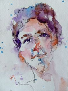 portrait of a girl - watercolour by Nora MacPhail  Very expressive.