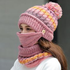 Women Winter Warm Thicken Plus Velvet Knit Hat Scarf Set with Face Mask Windproof Earmuffs Ski Cap - Banggood Mobile Scarf Hat, Knit Beanie, Beanie Hats, Tube Scarf, Knitted Hats, Crochet Hats, Cap Girl, Winter Knit Hats, Striped Knit