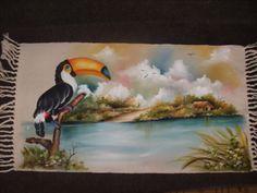 Tapete tema Pantanal (pintei a paisagem e minha irmã Marli o tucano)