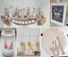 Rustic Shabby Winter Wonderland Girl 1st Birthday Party Planning Ideas by Raquel Souza