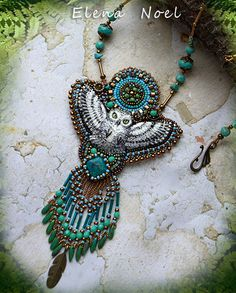 RESERVED Snowy owl necklace Necklace Bead Embroidery by ElenNoel