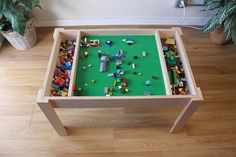 Building blocks table, activity table, kids table, not the trademarked company LEGO® Table with storage, building bricks table