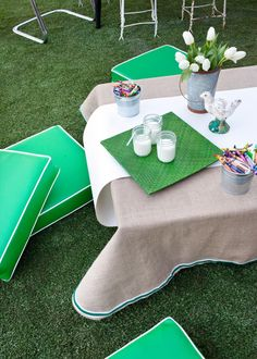 Host a Green-and-White Brunch for St. Patrick's Day >> http://www.hgtv.com/design/make-and-celebrate/entertaining/garden-inspired-buffet-brunch-pictures?soc=pinterest