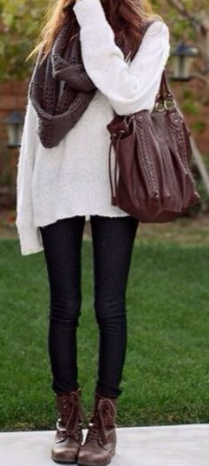 big sweaters, leggings,I would use jegings, infinity scarf, and lace up boots = perfect fall outfit