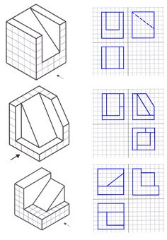 Basic Drawing, Technical Drawing, Drawing Sketches, Cad Drawing, Isometric Sketch, Isometric Design, Isometric Drawing Exercises, Orthographic Drawing, Perspective Drawing Lessons