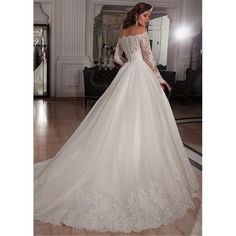 Elegant Tulle Off-the-Shoulder Neckline Ball Gown Wedding Dresses with... ($472,221) ❤ liked on Polyvore featuring dresses and wedding dresses