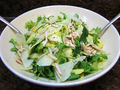 This Shaved Summer Squash Salad combines thin ribbons of fresh, raw zucchini and yellow squash with a bright, lemony dressing. Bitter arugula, sharp Pecorino cheese, and crunchy toasted almonds add flavor and texture. Summer Squash Salad, Soup Recipes, Salad Recipes, Yellow Squash Recipes, Tomato Season, Rabbit Food, Vegetable Recipes, Food And Drink, Veggies
