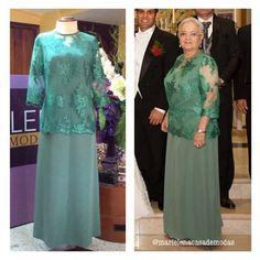 Vestido diseñado para la Sra. Rosita de Espinosa, confeccionado en tul bordado y seda