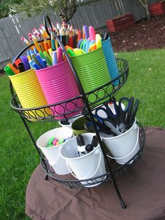 School Supply Caddy: Using a serving plate stand or even maybe a plant stand, you paint cans in whatever colors, get buckets and fill with school supplies or art supplies. Kids can use & put back easily. Go one step further and label each can. Kids Crafts, Craft Projects, Craft Tutorials, Tree Crafts, Classroom Organization, Classroom Decor, Classroom Teacher, Organization Ideas, Storage Ideas