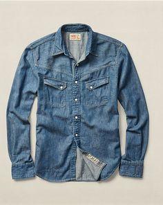 RRL Slim Western Denim Shirt