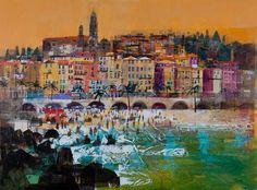 Gallery of Works Mike Bernard, Art Friend, Funky Art, Contemporary Artwork, Mixed Media Artists, Cinque Terre, Art Portfolio, Cityscapes, Acrylics