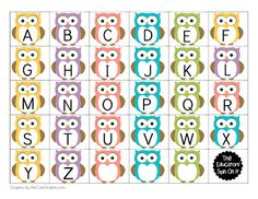 The Educators' Spin On It: Printable Owl Themed Name Games for Kids Owl Preschool, Preschool Games, Preschool Classroom, Classroom Teacher, Alphabet Crafts, Alphabet Activities, Alphabet Letters, Letter Tracing, Alphabet Print