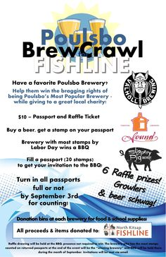 Poulsbo BrewCrawl for Fishline! Grab a passport $10, beer stamps donationas made to the foodbank. Keep it local