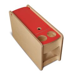 Flat pack console that fits between front seats and holds 2 drinks cans or bottles with storage. Birch plywood with coloured laminate lid. Vw T3 Camper, T3 Vw, Kombi Motorhome, Travel Camper, Volkswagen Transporter, Campervan, Van Storage, Truck Storage, Camper Storage