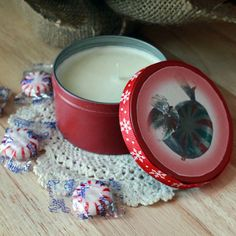 Peppermint Candy Candle Tin by InspiringFotos on Etsy