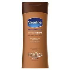 Vaseline Intensive Care Cocoa Radiant Lotion Vaseline Intensive Care Cocoa Radiant Lotion With pure cocoa butter, moisturizes to help heal dry skin to reveal its natural glow Moisturizes to help heal dry and dull-looking skin Absorbs fast for a  http://www.MightGet.com/january-2017-12/vaseline-intensive-care-cocoa-radiant-lotion.asp