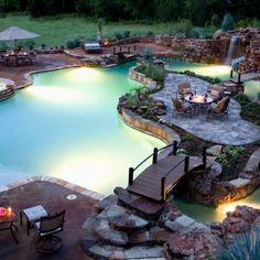Perfect swimming pool- lazy river, waterfall, and beach entry--Yes, my pool would definitely be something like this! Paradise Pools, Backyard Paradise, Outdoor Spaces, Outdoor Living, Outdoor Pool, Tropical Pool, Tropical Design, My Pool, Dream Pools