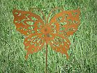 Rusted Rustic Metal Butterfly Garden Critter with metal stake