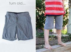 Turn old men's shorts into boy shorts.  www.makeit-loveit.com