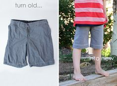 Turn old men's shorts into boy shorts.  www.makeit-loveit.com