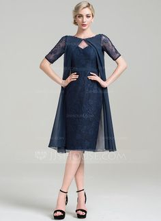 Sheath/Column Scoop Neck Knee-Length Beading Sequins Zipper Up Sleeves Short Sleeves No 2016 Dark Navy General Plus Chiffon Lace Mother of the Bride Dress