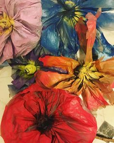 Plastic Bags, Recycled Crafts, Centre, Recycling, Flowers, Painting, Art, Fashion, Art Background