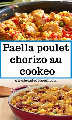 Paella poulet chorizo au cookeo #paella #poulet #recette Cooking Chef, Batch Cooking, Entrees, Chili, Food And Drink, Soup, Healthy, Desserts, Sauce Tomate