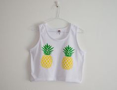 Crop Top Pineapple Print Tropical Summer T-shirt Festival Fashion White Top S/M/L/XL