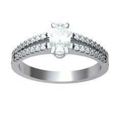 ANELLO DI FIDANZAMENTO SOLITARIO COMPOSTO CON DIAMANTE SUL GAMBO 18CT ORO BIANCO | Il diamante centrale è taglio ovale e diamanti laterali sono tutti taglio brillante.  La caratura totale per questo anello va da 0.35ct a 0.55ct, con il diamante centrale disponibile da 0.21ct a 0.46ct montato in quattro griffe. I 28 diamanti sul gambo taglio brillante pesano 0.005ct ciascuno per un totale di 0.14ct.