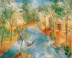 Olga Sacharoff. Paisaje idílico, c. 1953. Óleo sobre lienzo, 81 x 100 cm. Colección Carmen Thyssen-Bornemisza