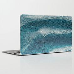Blue silver waves on metal grunge looking background laptop skin, $30