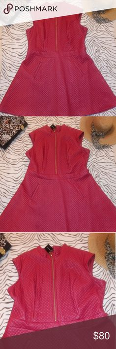 83af6f77961 Red Ashley Stewart Skater Dress  NWT  Made by Ashley Stewart  Size 22   Red   Front Zipper  Shell  Polyester Rayon Backing  Lining  Polyester Ashley  Stewart ...