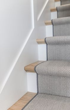 We recently installed this stair runner into a home in Wellesley. This wool herringbone works perfectly with the home interiors. The perfect mix of grey's and blues. Staircase Runner, Stair Runners, Home Carpet, Stair Carpet, Staircase Makeover, Hallway Designs, Small Hallways, Transitional House, Banisters