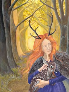 Elen of the Ways (Acrylic on canvas) © Sharyn Turner 2017 Elen of the Ways is the mysterious and elusive British Goddess. She is shown here in her aspect of the horned Goddess, guardian of the ancient trackways and deer trods. #elen #elenoftheways #goddess #antleredgoddess