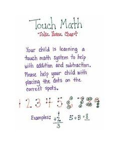 Touch Math Take Home Chart