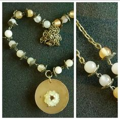 Shop for on Etsy, the place to express your creativity through the buying and selling of handmade and vintage goods. Pearl Necklace, Beaded Necklace, Handcrafted Jewelry, Unique Jewelry, Real Flowers, Beaded Flowers, My Etsy Shop, Pearls, Trending Outfits