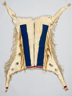 Man's Leggings Date: ca. 1850 Geography: United States, North or South Dakota Culture: Lakota (Teton Sioux) Medium: Native-tanned leather, glass beads, pigment, wool cloth, horsehair