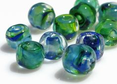 'Sea Breeze' Handmade Lampwork beads by Laura Thompson on etsy $19.20