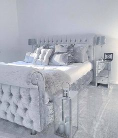 Grey sleigh bed in velvet with silver satin sheets & pillows w/mirrored furniture. Great mod/contemporary guest room—best for your eclectic cousin Polexia who lives in The Village or your so boss coed Room Ideas Bedroom, Home Bedroom, Glam Master Bedroom, Bedroom Small, Sleigh Beds, Cute Room Decor, Mirrored Furniture, Grey Bedroom Furniture, Home Decor Ideas
